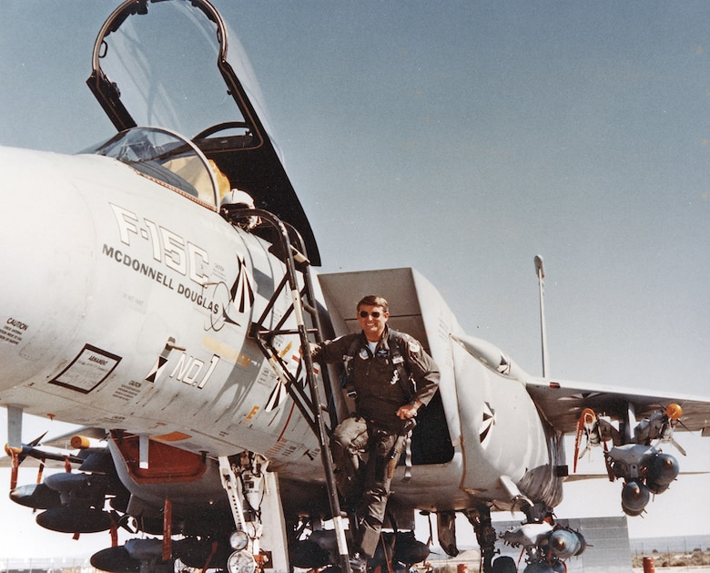 On March 28, 1983, the director of the F-15 Combined Test Force, Lt. Col. John M. Hoffman, flew the first of 27 high-angle-of attack-test flights on an F-15C with the test nose boom removed. (Edwards History Office file photo)