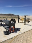 Students of Explosive Ordnance Disposal Advanced Training Center (EODATC) Explosive Ordnance Exploitation Course Class 020-2017 utilize a pneumatic press.  The press was used to demonstrate various methods to remove explosives remotely.