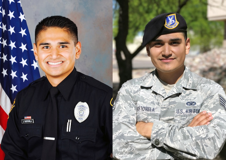 U.S. Air Force Reserve Staff Sgt. Joshua Castorela is a 720th Security Forces Squadron Citizen Airman and Tucson Police Department patrol officer who was recently recognized for heroism in the line of duty. He is set to deploy to the Dominican Republic with other defenders from Davis-Monthan Air Force Base, Ariz. (Photo illustration by Carolyn Herrick)