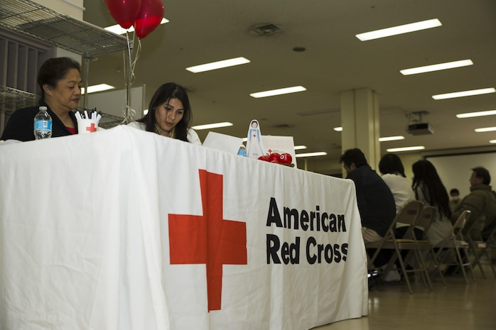 The American Red Cross Society and Japanese Red Cross Society held a blood drive at Marine Corps Air Station Iwakuni, Japan, March 7, 2017. The drive ended with a total of 59 donors, 18 more than the previous drive, and the volunteers hope to have more donors in the future. The blood drive is a biannual event normally focused on Japanese locals, one being held in March and the other in August. (U.S. Marine Corps photo by Pfc. Stephen Campbell)