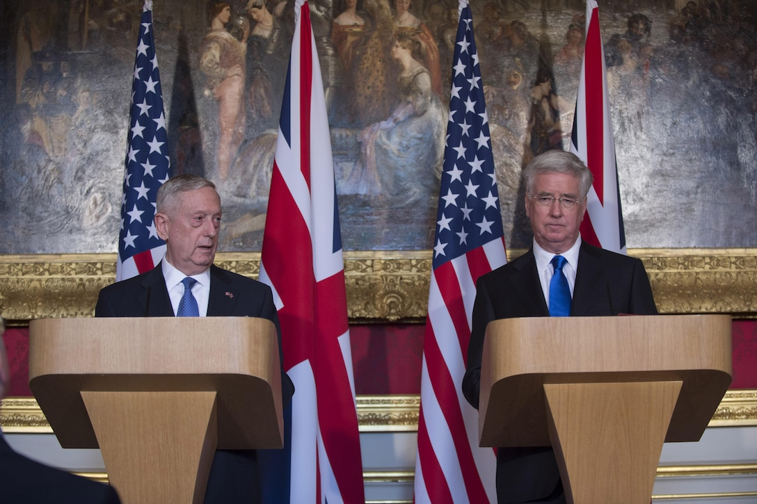 Defense Secretary Jim Mattis and British Defense Secretary Michael Fallon hold a joint news conference at Lancaster House in London.