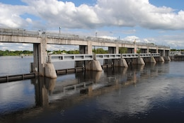 Water flows through the spillway at W.P. Franklin Lock & Dam near Fort Myers.