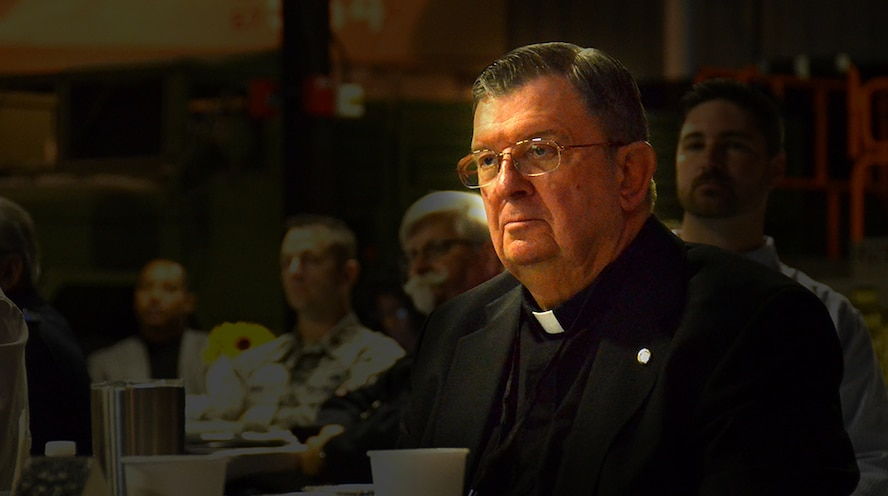 Forty-Seven years as a priest, 38 as an active duty chaplain, Father Thomas Fey says he's had a double vocation since he was a young boy – to serve God and Country. Fey began his journey in 1958, when he was just 12-years old, explaining his catholic grammar school had left a resounding impression on him. (U.S. Air Force photo/Tech. Sgt. Goonan)