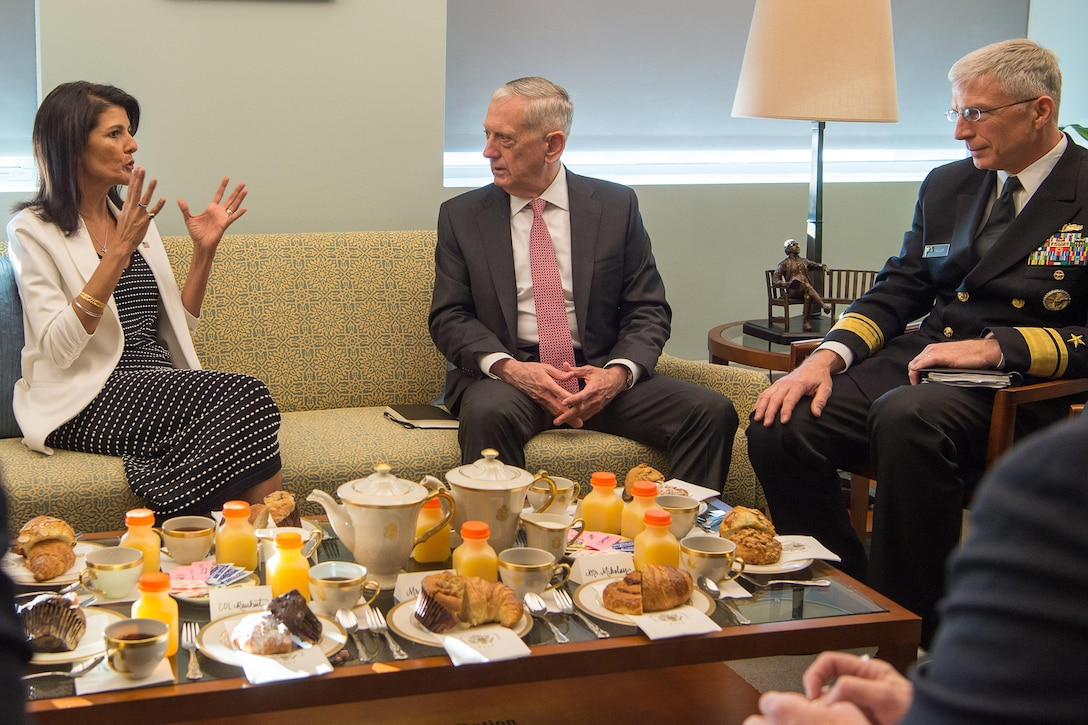 Defense Secretary Jim Mattis speaks with U.S. Ambassador to the United Nations Nikki Haley during a visit to the U.S. Mission to the United Nations.