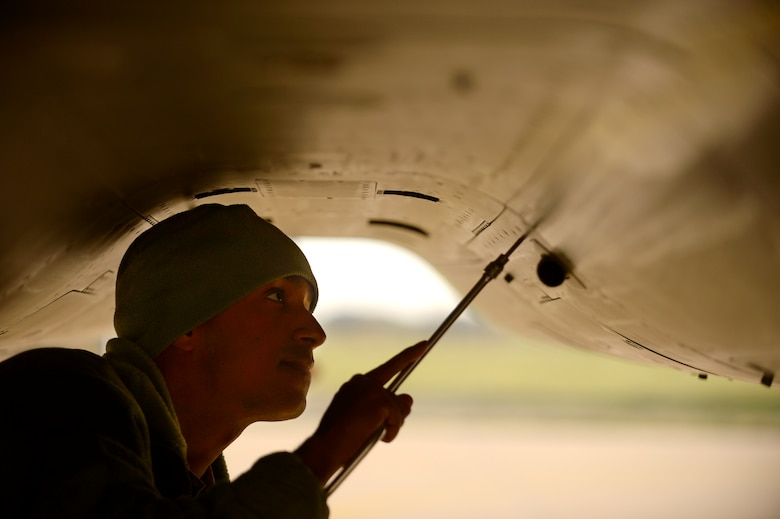 An F-15C Eagle crew chief performs maintenance at Leeuwarden Air Base, Netherlands, March 24, 2017. F-15C's from the Louisiana and Florida Air National Guard's 159th Expeditionary Fighter Squadron deployed to Europe to participate in a theater security package. The F-15s will conduct training alongside NATO allies to strengthen interoperability and to demonstrate U.S. commitment to the security and stability of Europe. (U.S. Air Force photo/Tech. Sgt. Staci Miller)