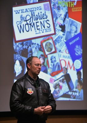 U.S Air Force Col. David Berg, 55th Wing vice commander, provides opening remarks at the Women's History Month speaking engagement hosted by the Offutt Diversity Team at the 557th Weather Wing's Chief Master Sgt. Peter Morris Auditorium, March 24, 2017, Offutt Air Force Base, Neb. The speakers, both military and civilian, highlighted women in history that have inspired them personally.