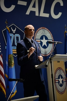 DLA Energy Commander Air Force Brig. Gen. Martin Chapin provides opening remarks during the ribbon cutting ceremony at Tinker Air Force Base, Oklahoma, March 29. The largest energy savings contract in Air Force history is projected to save $626 million in energy and operational costs over 21 years.