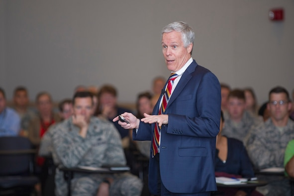 Joseph Grenny, social scientist for business performance, shares his passion about how human behavior affects an organization March 30, 2017, at Patrick Air Force Base, Fla. Grenny provided insight about how to communicate effectively when it matters most and when to step up to life's most important conversations in order to achieve positive results.  (U.S. Air Force photo by Phil Sunkel)