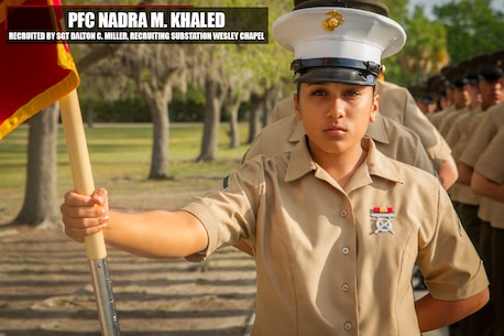 Private First Class Nadra M. Khaled stands at parade rest prior to bootcamp graduation Mar. 31, 2017, aboard Marine Corps Recruit Depot Parris Island, S. C. Khaled is the honor graduate of platoon 4011 and is a native of Tampa, Florida. Khaled was recruited out of Recruiting Substation Wesley Chapel by Sgt. Dalton C. Miller. (Official Marine Corps photo by Cpl. Adeline N. Smith/Released)