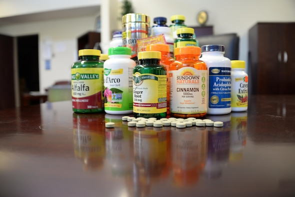 A 2015 research study found that 60 to 70 percent of active-duty members and 44 to 53 percent of Department of Defense civilians use at least one dietary supplement per week. The study also found that people who used one to two supplements per week were 1.5 times more likely to report abnormal heartbeats. People using three to four supplements were three times more likely to report abnormal heartbeats. (U.S. Air Force photo / Senior Airman Amber Carter)