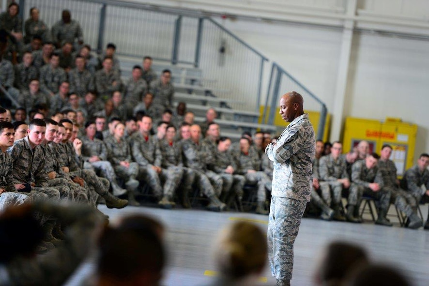 During a recent message to Airmen, Chief Master Sgt. of the Air Force Kaleth O. Wright addresses Airmen about the responsibility that every Airman has to stop sexual assault. (Courtesy photo)