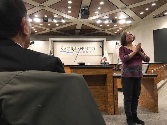 Kathern Bond, program analyst for the U.S. Army Corps of Engineers Sacramento District, delivers her winning speech at a recent Area 52 Table Topics Speech Contest in Sacramento, California.