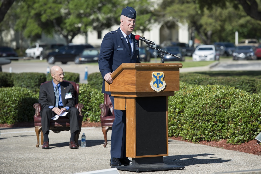 Col. Joel Carey, 12th Flying Training Wing commander, speaks during the Freedom Flyer Reunion wreath laying ceremony March 31, 2017, at Joint Base San Antonio-Randolph, Texas. The event honors all prisoners of war and missing in action service members from the Vietnam War and included a wreath-laying ceremony and a missing man formation flyover.  (U.S. Air Force photo by Sean M. Worrell)