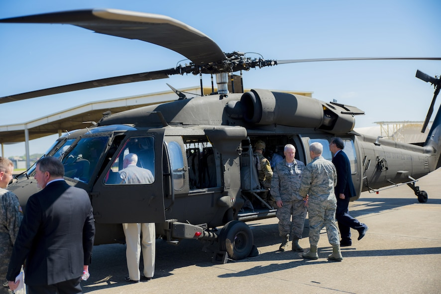"""Lt. Gen. L. Scott Rice, director of the Air National Guard, is shown the UH-60 """"Blackhawk"""" used during a scenario to showcase the 188th Wing's remote air, zonal operations, reach back-processing, assessment and dissemination (RAZORBack PAD) March 31, 2017, while visiting Ebbing Air National Guard Base, Fort Smith, Ark. The RAZORBack PAD was used to show how 188th Airmen can monitor video footage from aircraft while in a mobile location. (U.S. Air National Guard photo by Tech. Sgt. Chauncey Reed)"""
