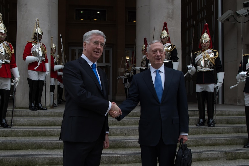 Defense Secretary Jim Mattis shakes hands with British Defense Secretary Michael Fallon at arrival ceremony at the Defense Ministry in London, March 31, 2017. DoD photo by Army Sgt. Amber I. Smith