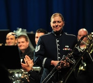 Technical Sergeant Christine Purdue, of the Ceremonial Brass, had the distinct honor of being a featured soloist with the Brass of the Potomac, a DC-based British-style brass group. The group is comprised solely of volunteers, drawing its talent largely from Washington's military bands; and, since its founding in 2008, has performed full-scale concerts in schools, community arts centers and places of worship. Photo credit: Sgt. 1st Class Chris Branagan