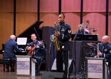 Technical Sgt. Grant Langford performs a featured solo as part of the 2017 Jazz Heritage Series at the Rachel M. Schlesinger concert hall in Alexandria, VA. (Photo by Chief Master Sgt. Bob Kamholz)