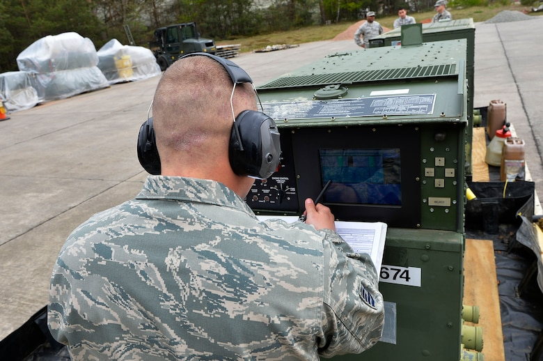 Tech. Sgt. Richard Thorsen, 1st Combat Communications Squadron power production supervisor, operates a generator during an exercise on Ramstein Air Base, Germany, April 26, 2017. Combat Communications Airmen are responsible for helping provide secure and reliable communications for the U.S. military in a wide range of challenging environments. (U.S. Air Force photo by Airman 1st Class Joshua Magbanua)