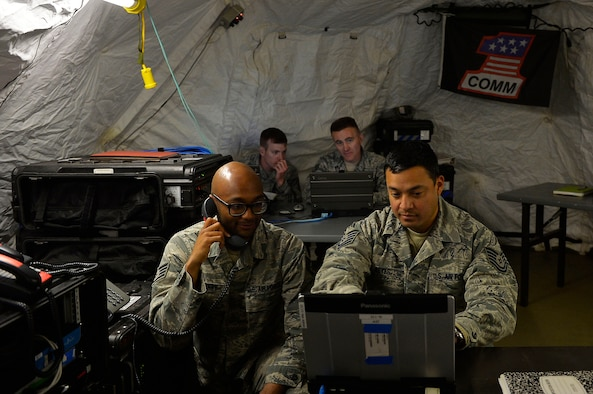Combat communications Airmen from various units operate equipment during an exercise on Ramstein Air Base, Germany, April 26, 2017. Airmen from active duty, the reserve, and Air National Guard participated in the first total force integrated combat communications exercise for U.S. Air Forces in Europe and Air Forces Africa. (U.S. Air Force photo by Airman 1st Class Joshua Magbanua)