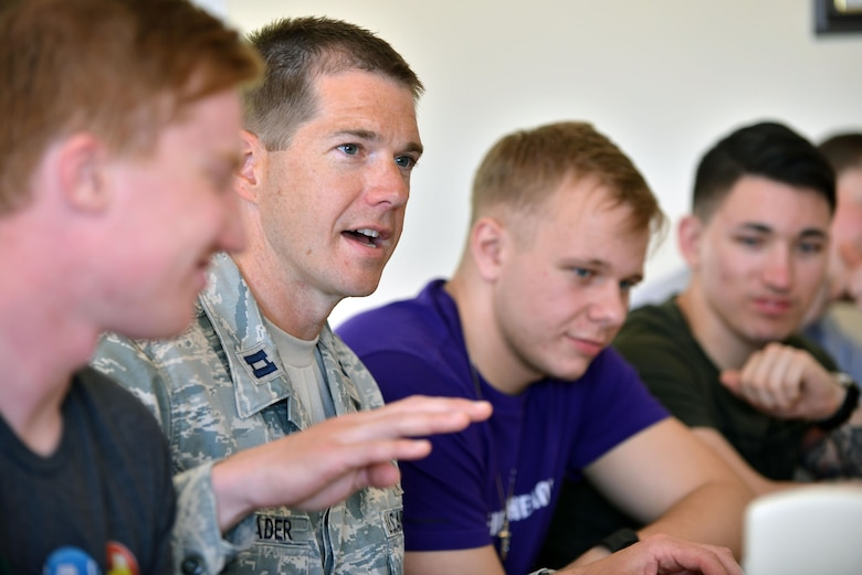 U.S. Air Force Chaplain (Capt.) Lance Schrader, 720th Expeditionary Air Base Squadron chaplain, speaks with Airmen during a spiritual lunch and learn, April 27, 2017, at Diyarbakir Air Base, Turkey. The luncheon was designed to build relationships and bolster camaraderie among U.S. forces. (U.S. Air Force photo by Senior Airman John Nieves Camacho)