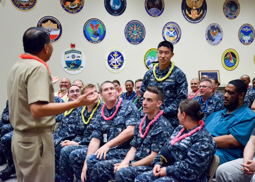 Sailors and Defense Department civilians assigned to Naval Information Forces, Naval Network Warfare Command, 10th Fleet and Navy Cyber Defense Operations Command gather to recognize 2016's Asian American and Pacific Islander Heritage Month with a ceremony in Suffolk, Va., May 24, 2016. The Navy kicked off its 2017 observance May 1. Navy photo by Robert Fluegel
