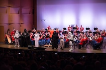 The Marine Band performed the Young People's Concert: Character Music, highlighting the music of John Williams from Star Wars and featuring members of the 501st and Rebel Legions in full Star Wars costumes, in addition to an instrument petting zoo after the concert on Sunday, April 30, at Norther Virginia Community College's Rachel M. Schlesinger Concert Hall and Arts Center in Alexandria, VA.