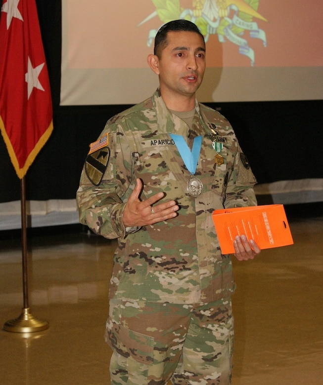 Sgt. 1st Class Daniel Aparicio expresses his gratitude at his Sgt. Audie Murphy Club induction ceremony held at Fort Devens, Massachusetts, April 6, 2017.  Aparicio is assigned to the Regional Training Site Maintenance-Devens, which falls under the 94th Training Division.