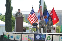 The 63d Regional Support Command commanding general, Maj. Gen. Alvin provided open remarks during an Earth Day event at the Sergeant James Witkowski Armed Forces Reserve Center in Mountain View about maintaining a sustainable environment through stewardship and vigilance.