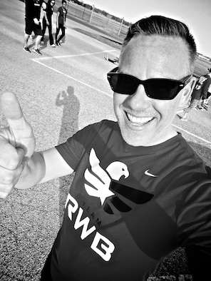 Christopher Parr, 932nd Airlift Wing Public Affairs specialist, grabs a quick selfie within a selfie, during the last week of the Scott Health Promotion Running Clinic, March 8, 2017, Scott Air Force Base, Illinois.  Parr documented his journey to becoming a better runner in the commentaries section of the 932nd AW website. http://www.932aw.afrc.af.mil/News/Commentaries.aspx  (U.S. Air Force photo by Christopher Parr)