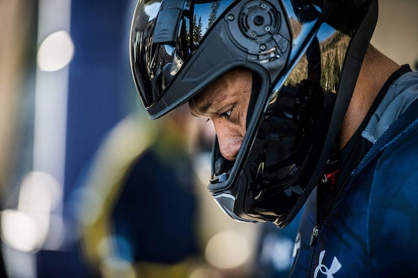 U.S. Air Force Capt. David Simon takes a moment to focus during tryouts for the U.S. National Bobsled Team in Park City, Utah, on Nov. 2, 2016. His bid for that team ended with an injury, but he's still ultimately aiming for a spot on the U.S.A. Bobsled Team for the 2018 Winter Olympic Games in Pyeongchang, Republic of Korea. (Courtesy photo)