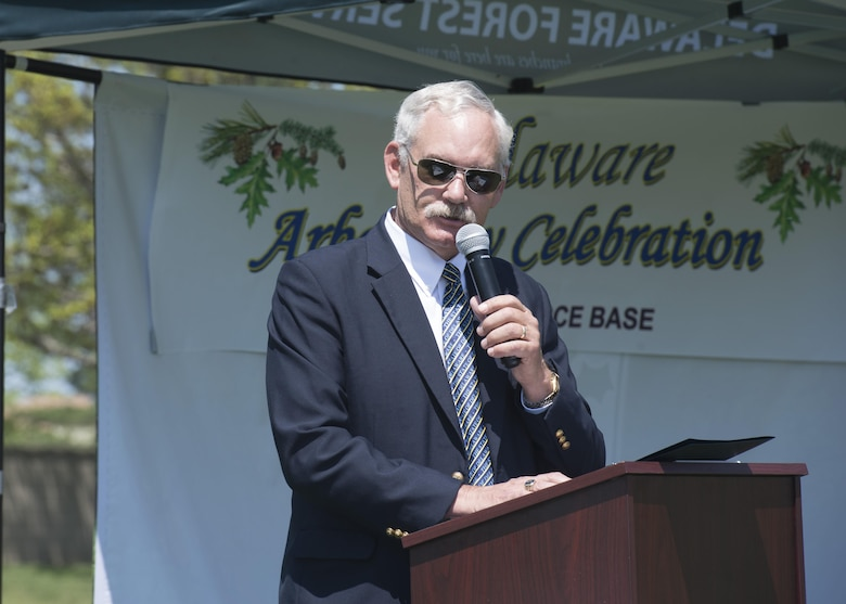 Delaware Secretary of Agriculture Michael Scuse speaks at the State of Delaware Arbor Day event April 28, 2017, at Dover Air Force Base, Del. The event also feature awards for elementary school students who took part in an Arbor Day poster contest. (U.S. Air Force photo by Senior Airman Zachary Cacicia)