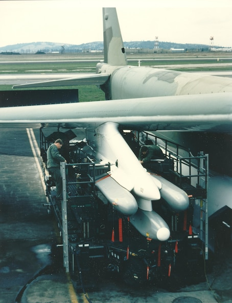 ALCM (AGM-86) loaded on a B-52 at Fairchild Air Force Base, May 30, 1984. (Courtesy photo)