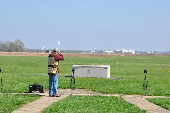 Jason Suter breaks a clay target at the Wright-Patterson AFB Rod & Gun Club shooting range April 12th.