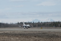 EIELSON AIR FORCE BASE, Alaska – A U.S. Air Force F-16 Fighting Falcon aircraft assigned to the 13th Fighter Squadron, Misawa Air Base, Japan, takes off for a sortie from Eielson Air Force Base, Alaska, May 1, 2017 during NORTHERN EDGE 2017 (NE17). NE17 is Alaska's premier joint training exercise designed to practice operations, techniques and procedures as well as enhance interoperability among the services. Thousands of participants from all the services, Airmen, Soldiers, Sailors, Marines and Coast Guardsmen from active duty, Reserve and National Guard units are involved. (U.S. Air Force photo/Staff Sgt. Ashley Nicole Taylor)