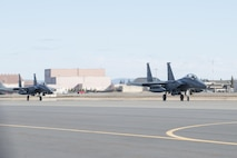 EIELSON AIR FORCE BASE, Alaska – A U.S. Air Force F-16 Fighting Falcon aircraft assigned to the 18th Aggressor Squadron takes off for a sortie from Eielson Air Force Base, Alaska, May 1, 2017 during NORTHERN EDGE 2017 (NE17). NE17 is Alaska's premier joint training exercise designed to practice operations, techniques and procedures as well as enhance interoperability among the services. Thousands of participants from all the services, Airmen, Soldiers, Sailors, Marines and Coast Guardsmen from active duty, Reserve and National Guard units are involved. (U.S. Air Force photo/Staff Sgt. Ashley Nicole Taylor)