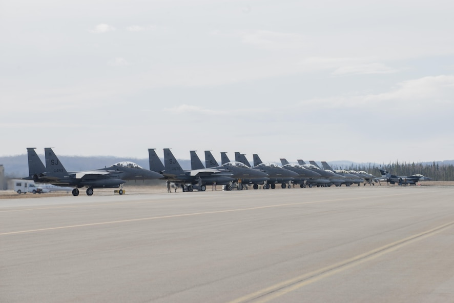 EIELSON AIR FORCE BASE, Alaska – U.S. Air Force aircraft assigned to the 335th Fighter Squadron, Seymour Johnson Air Force Base, N.C., the 13th Fighter Squadron, Misawa Air Base, Japan, and the 18th Aggressor Squadron, prepare for a sortie during NORTHERN EDGE 2017 (NE17) May 1, 2017, at Eielson Air Force Base, Alaska. NE17 is Alaska's premier joint training exercise designed to practice operations, techniques and procedures as well as enhance interoperability among the services. Thousands of participants from all the services, Airmen, Soldiers, Sailors, Marines and Coast Guardsmen from active duty, Reserve and National Guard units are involved. (U.S. Air Force photo/Staff Sgt. Ashley Nicole Taylor)