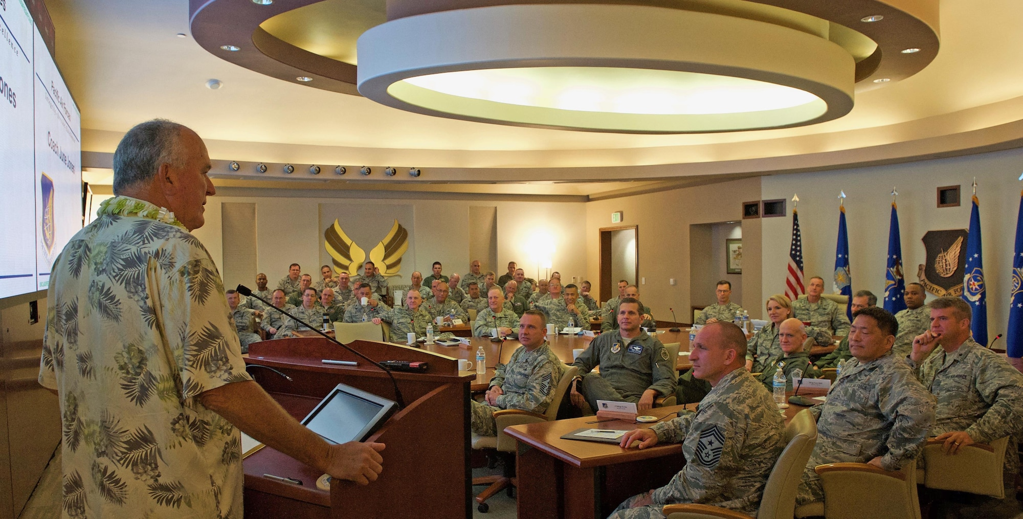 Former University of Hawaii (UH) head football coach June Jones speaks with Pacific Air Forces (PACAF) senior leaders during the PACAF hosted commander's conference at Joint Base Pearl Harbor-Hickam, Hawaii, April 26, 2017. At UH, Jones guided the Rainbow Warriors to what was the biggest single-season turnaround in NCAA history, taking a program that had gone 0-12 before his arrival to 9-4 in 1999, leaving the school as the winningest head coach with a 76-41 record over nine seasons. The three-day conference included a wide variety of topics and several guest speakers, preparing leaders in PACAF to remain poised to retain a competitive advantage in the evolving Pacific theater. (U.S. Air Force photo by Tech. Sgt. Kamaile Chan)