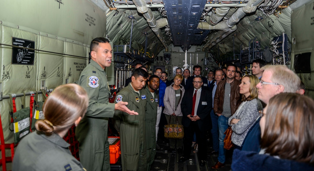 Capt. Randolph Matias, 86th Aeromedical Evacuation Squadron flight nurse, briefs medical providers during a tour on Ramstein Air Base, Germany, April 27, 2017. The biennial tour helps medical providers from the Kaiserslautern Military Community see how the care they provide to military members and their families plays not only into the 86th AES mission, but the overall 86th Medical Group mission. (U.S. Air Force photo/Staff Sgt. Timothy Moore)