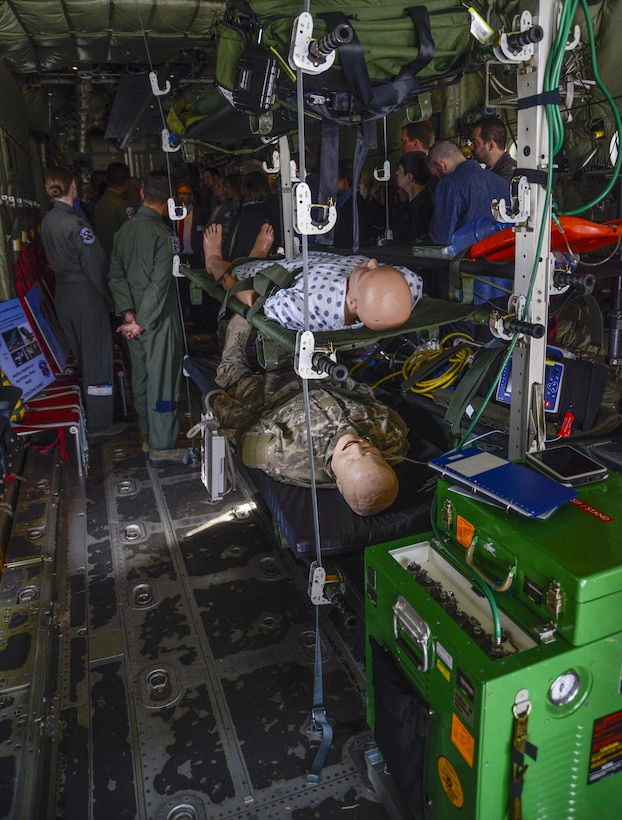Medical training equipment is displayed on a C-130J Super Hercules during a tour for local national medical providers on Ramstein Air Base, Germany, April 27, 2017. When the Airmen assigned to the 86th Aeromedical Evacuation Squadron aren't taking care of patients on a flight, they will often train to stay proficient on their skills. (U.S. Air Force photo/Staff Sgt. Timothy Moore)