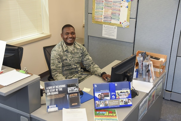 AB Avery Adams sits at the customer service desk preparing for appointments April 27, 2017 at Warfield Air National Guard Base, Middle River, Md. Adams is the May 2017 Spotlight Airman. (U.S. Air National Guard photo by SrA Enjoli Saunders/RELEASED)