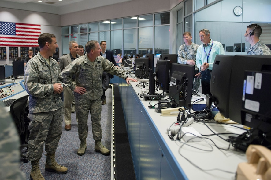 (Center) Air Force Chief of Staff Gen. David L. Goldfein visits with members of the 45th Space Wing launch team April 30, 2017, at Cape Canaveral Air Force Station, Fla. The tour included a visit to the Morrell Operations Center; Cape Canaveral Air Force Station Headquarters; Space Launch Complex 37; Moon Express; and a close up view of the Falcon 9 launch and landing. (U.S. Air Force photo/Matthew Jurgens)