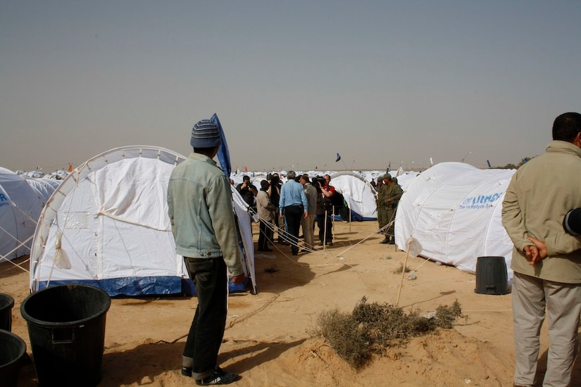 View of a transit camp near the Tunisian border with Libya, March 4, 2011.