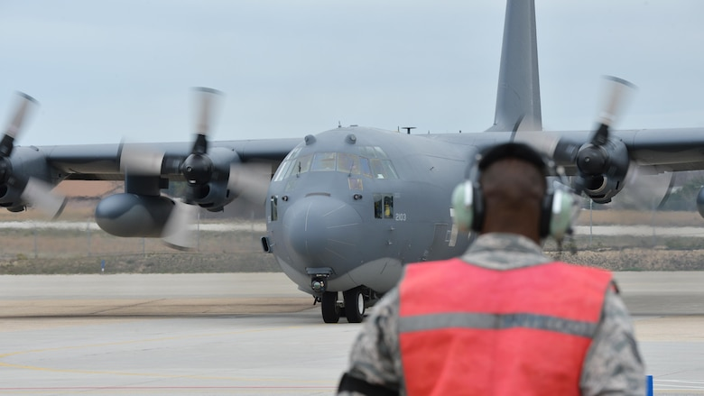 Members of New York Air National Guard's 106th Rescue Wing prepare to take off from Westhampton Beach, N.Y., for a rescue mission at Lajes, Azores, April 24, 2017. The mission was to locate the aircraft and drop para-rescuemen who boarded a ship and provide emergency medical care to the crew. (U.S. Air Force photo/Master Sgt. Cheran A. Cambridge)