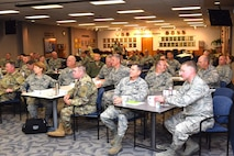 Adjutants General and other key National Guard leaders listen to a briefing on the Air Force Cyber mission during the Adjutants General Cyber Symposium April 24, 2017 at Joint Base San Antonio – Lackland, Texas. Hosted by the 24th Air Force, the conference aimed to provide ANG leaders with a clear understanding of how the ANG contributes to national cyber strategy. 24th AF functionally-aligned ANG cyber units exist in 31 states.