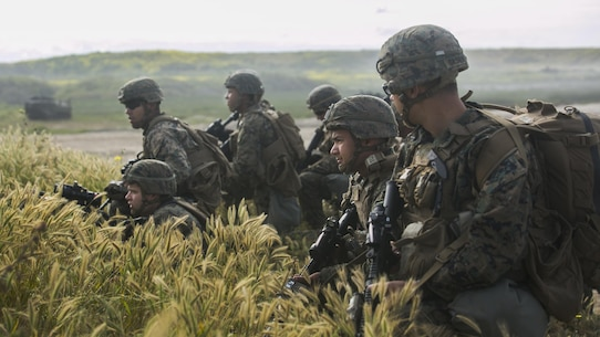 MARINE CORPS BASE CAMP PENDLETON, Calif. – Marines with Battalion Landing Team 1/5, 15th Marine Expeditionary Unit conduct an prepare to clear a combat town during an amphibious assault as part of PHIBRON-MEU integration training at Camp Pendleton, April 13, 2017. This first at-sea exercise provides the Marines the opportunity to practice integrating with their Navy counterparts to form an efficient team capable of accomplishing a range of missions around the globe. This Navy-Marine Corps team supports combatant commanders in maintaining regional maritime security and stability while providing offshore options to deter influence and win in an era of uncertainty.  (U.S. Marine Corps photo by Cpl. Frank Cordoba)