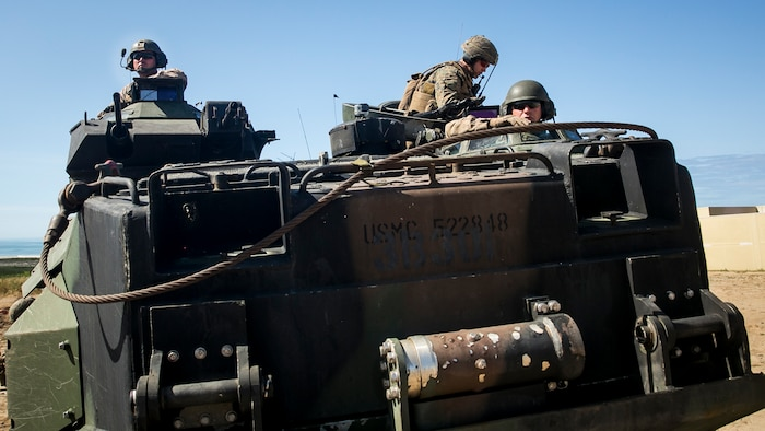 MARINE CORPS BASE CAMP PENDLETON, Calif. – Marines with the 3rd Assault Amphibian Battalion 15th Marine Expeditionary Unit drive an amphibious assault vehicle during PHIBRON-MEU integration training at Camp Pendleton, April 13, 2017. This first at-sea exercise provides the Marines the opportunity to practice integrating with their Navy counterparts to form an efficient team capable of accomplishing a range of missions around the globe. This Navy-Marine Corps team supports combatant commanders in maintaining regional maritime security and stability while providing offshore options to deter, influence and win in an era of uncertainty.  (U.S. Marine Corps photo by Cpl. Frank Cordoba)