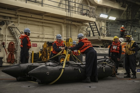 PACIFIC OCEAN, Calif., – Sailors aboard the USS San Diego (LPD-22) hoist a combat rubber raiding craft in preparation for the 15th Marine Expeditionary Unit Maritime Raid Force to conduct debarkation drills from the well deck during PHIBRON-MEU Integration, April 3, 2017. PMINT is the first at-sea training exercise and an opportunity for the Marines and Sailors to work as one team to complete essential missions.  This exercise lays the foundation for all the elements of the 15th MEU to develop relationships with their Navy counterparts and gain an understanding of the teamwork necessary to accomplish the mission with a focus on facilitating the integration of the blue-green team. (U.S. Marine Corps photo by Cpl. Timothy Valero)
