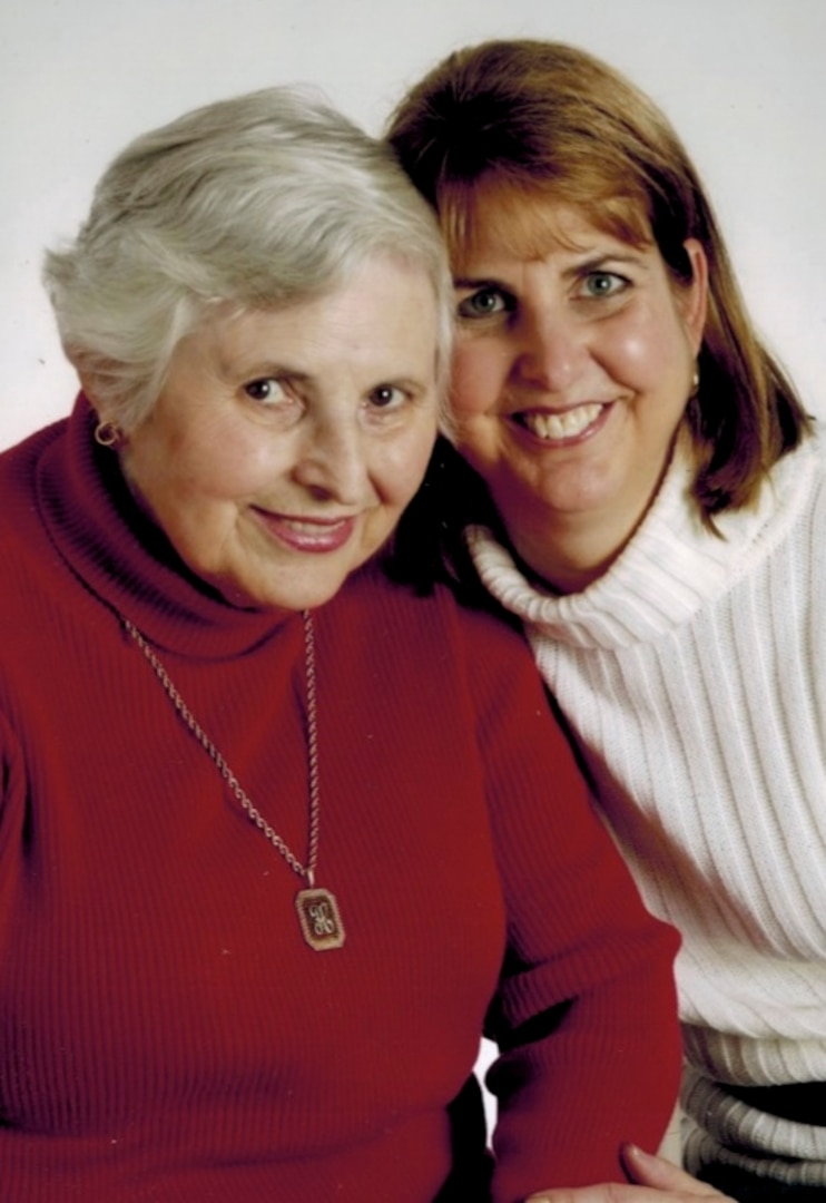 Holocaust survivor Helen Rieder (left) and daughter Renee Rieder Siegel appear together in this photo. Renee presented the story of her late mother's life through video clips, photographs, quotes and personal explanations to the employees of DLA Troop Support and NAVSUP Weapon Systems Support April 26, 2017. Renee shared her mother's approach to resilience and her messages on choices and tolerance during the Holocaust Days of Remembrance program.