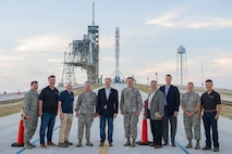 (Fourth from the left) Air Force Chief of Staff Gen. David L. Goldfein; Rep. Jim Bridenstine; Brig. Gen. Wayne Monteith, 45th Space Wing commander; members of the 45th Space Wing and SpaceX gather for a photo after touring Launch Pad 39A, April 29, 2017, at Kennedy Space Center, Fla. The tour included a visit to the Morrell Operations Center; Cape Canaveral Air Force Station Headquarters; Space Launch Complex 37; Moon Express; and a close up view of the Falcon 9 launch and landing. (U.S. Air Force photo/Matthew Jurgens)