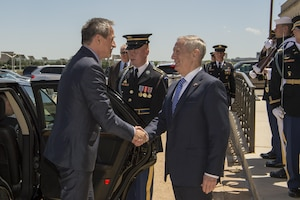 Defense Secretary Jim Mattis shakes hands with Czech Republic Defense Minister Martin Stropnicky before an honor guard ceremony at the Pentagon, May 2, 2017. The two defense leaders met to discuss matters of mutual importance. DoD photo by Army Sgt. Amber I. Smith